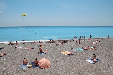 The beach in Nice France. (Patricia Sheridan/Post-Gazette)
