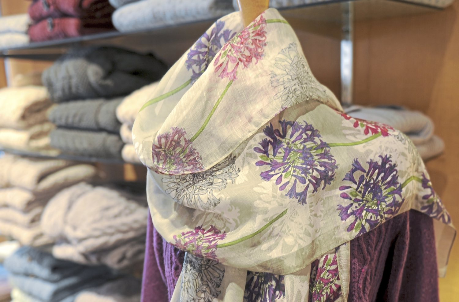 Spring scarves designed by Belinda Northcote Designs at the Irish Design Center on South Craig Street in Oakland. (Pam Panchak/Post-Gazette)