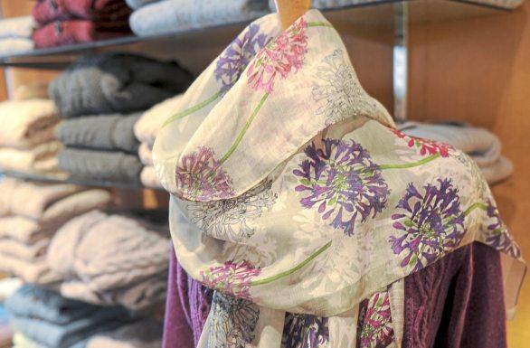 Spring scarves designed by Belinda Northcote Designs at the Irish Design Center on South Craig Street in Oakland. (Pam Panchak/Post-Gazette)