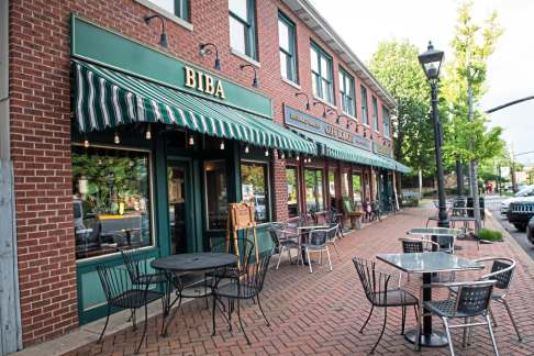 Biba, an upscale Latin American inspired restaurant, features indoor and outdoor seating in downtown Beaver. (Stephanie Strasburg/Post-Gazette)