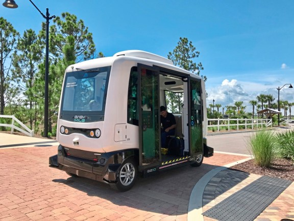The autonomous electric vehicle that shuttles people around the neighborhoods and to the center of Babcock Ranch, the first solar powered town in the United States. credit Patricia Sheridan