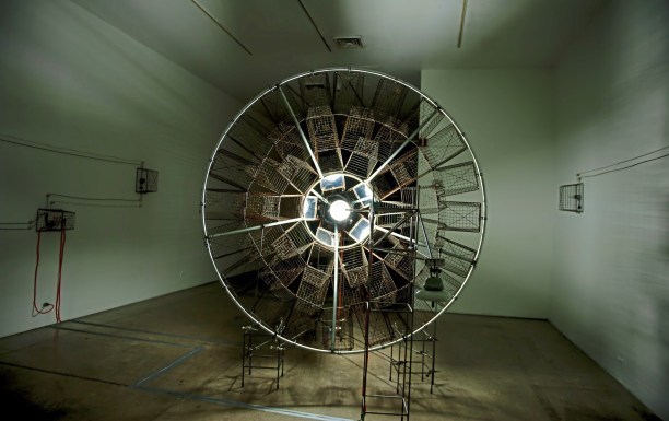 """Pittsburgh artist Keny Marshall's exhibition """"Antumbra"""" at the 707 Penn Gallery on Wednesday, Oct. 24 , 2018, in Downtown. Marshall is known for his kinetic and sculptural works. (Andrew Stein/Post-Gazette)"""