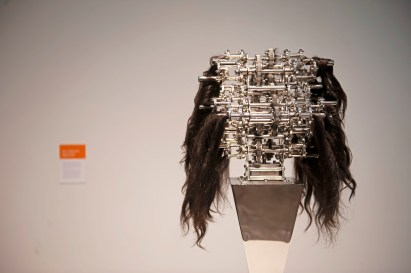 """Machine with Hair Caught In It"" by Ujoo + Limheeyoung is seen at the Space gallery on Wednesday, Oct. 24 , 2018, in Downtown. It is part of the Machine Culture installation which is comprised of work from international artists with pieces that all have moving parts. (Andrew Stein/Post-Gazette)"