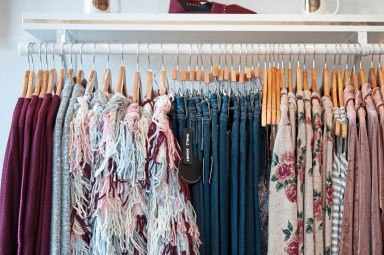 Items for sale at Vintage Grace Boutique on Thursday, Oct. 25, 2018, in Dormont. The shop features trend-forward women's clothing and accessories. (Andrew Stein/Post-Gazette)