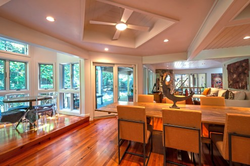 The dining area has a small bistro table and a large farmhouse table. (Piatt Sotheby's0