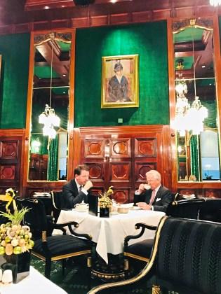 The green breakfast room at the five-star Hotel Sacher in Vienna, Austria. (Patricia Sheridan/Post-Gazette)