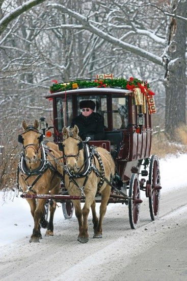 Carriage rides around Kohler Village are especially fun during the holiday season. (Kohler Co. )