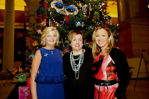 Katherine Bantleone, left, Heather Chronis and Elizabeth Windsor at the Carnegie Trees Opening Celebration in 2016. ( Mary Mervis)