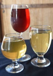 Samples of mead at Apis Mead and Winery in Carnegie on September 11, 2016. (Haley Nelson/Post-Gazette)