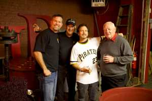 Former MLB first baseman Sean Casey, Steve Blass, Eddie Vedder of Pearl Jam and former MLB second baseman Bill Mazeroski at Engine House 25 Wines. (Rieder Photography)