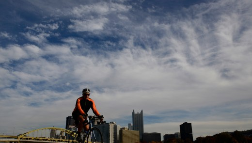 The North Shore Segment of the Three Rivers Heritage Trail --- with the Ft. Duquesne Bridge and the Pittsburgh skyline in the background. (Darrell Sapp/Post-Gazette)