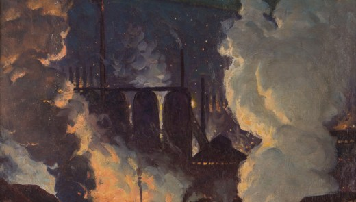 Artist: George William Sotter (American 1879-1953) | Title: Fiery Blast Furnaces at Night, Pittsburgh |Date: 1942 |Photography Credit: Kaela Speicher, Concept Art Gallery.