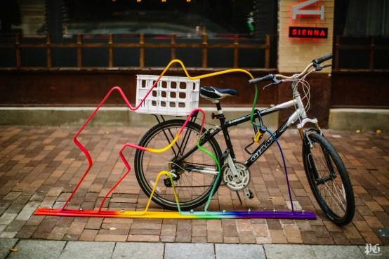 "Artist Brandon Boan's public art bike rack ""Hot Pants"" can be seen in front of Sienna Mercato on Penn Ave. on November 24, 2015. The Cultural District announced twelve new artist designed bike racks along Penn Ave. from 11th Street to Stanwix."