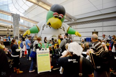 Families stand in line for a giant inflated Pirates Parrot bounce castle during PirateFest, the Pittsburgh Pirate's annual fan convention, at the David L. Lawrence Convention Center in Downtown Pittsburgh on Saturday, Dec. 12, 2015. Michael Henninger/Post-Gazette