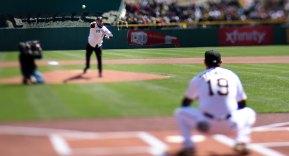 Pitt running back James Conner throws out the first pitch. Conner is battling Hodgkin lymphoma. (Steve Mellon/Post-Gazette)