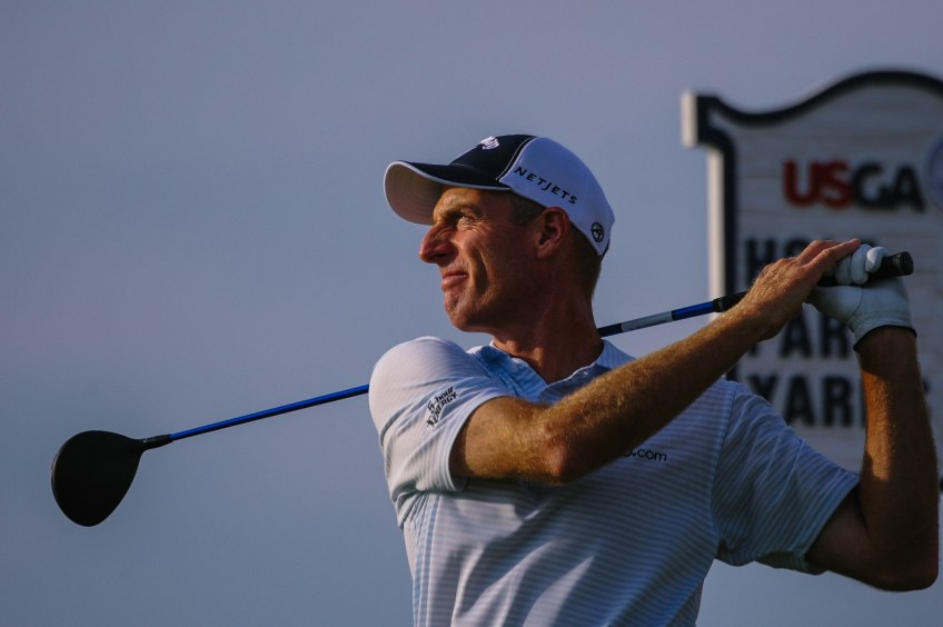 Jim Furyk tees off from hole 9 during Round 3. (Rebecca Droke/Post-Gazette)