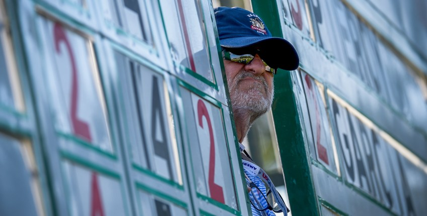 A volunteer peeks out to watch the action at the leaderboard on the 15th hole Sunday. (Matt Freed/Post-Gazette)