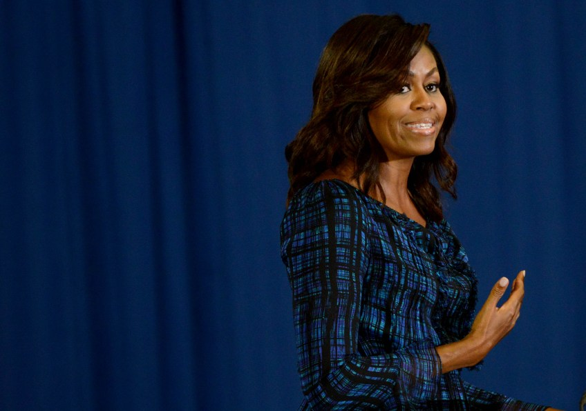 First Lady Michelle Obama campaigns.