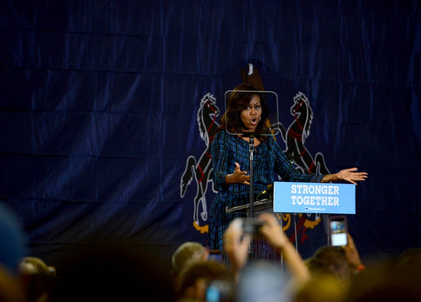First Lady Michelle Obama campaigns on behalf of Democratic presidential candidate Hillary Clinton Sept. 28, 2016.
