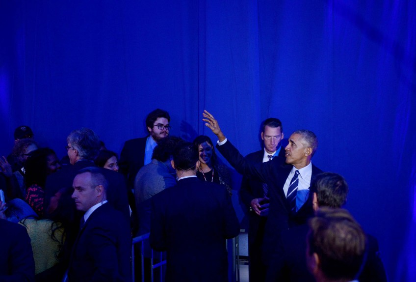 President Barack Obama greets attendees at The White House Frontiers Conference at Carnegie Mellon University. (Photo by Michael Henninger/Post-Gazette)