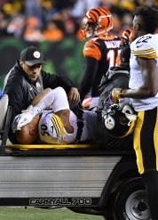 Pittsburgh Steelers Ryan Shazier is carted off the field Monday, December 4, 2017, at Paul Brown Stadium in Cincinnati. Shazier suffering a spinal cord injury and will mis s the rest of the season. (Peter Diana/Post-Gazette)