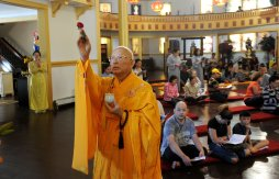 The Most Reverend Sakya Tri-Tue, president of the Vietnamese Buddhist Association, blessed the temple during the dedication of a new Vietnamese Buddhist Temple in the former Methodist church building Sunday, Oct. 22, 2017, in Dormont. This is the opening of a temple that has been at least a couple of years in the making, including a makeover of the old church into a temple. (Nate Guidry/Post-Gazette)