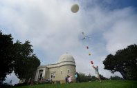 Dr. Russell Clark of University of Pittsburgh releases a high-altitude balloon on Friday, July 14, 2017, at Allegheny Observatory for a test flight in preparation for the upcoming total eclipse of the sun. The balloon contains video and photo equipment as well as experiments. (Steve Mellon/Post-Gazette)