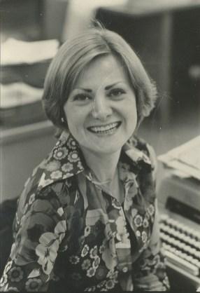 Mary Leonard and her typewriter