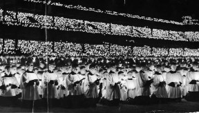 This Eucharistic rally at Forbes Field on Oct. 13, 1941, included 10,000 choir and altar boys. (Pittsburgh Press photo)