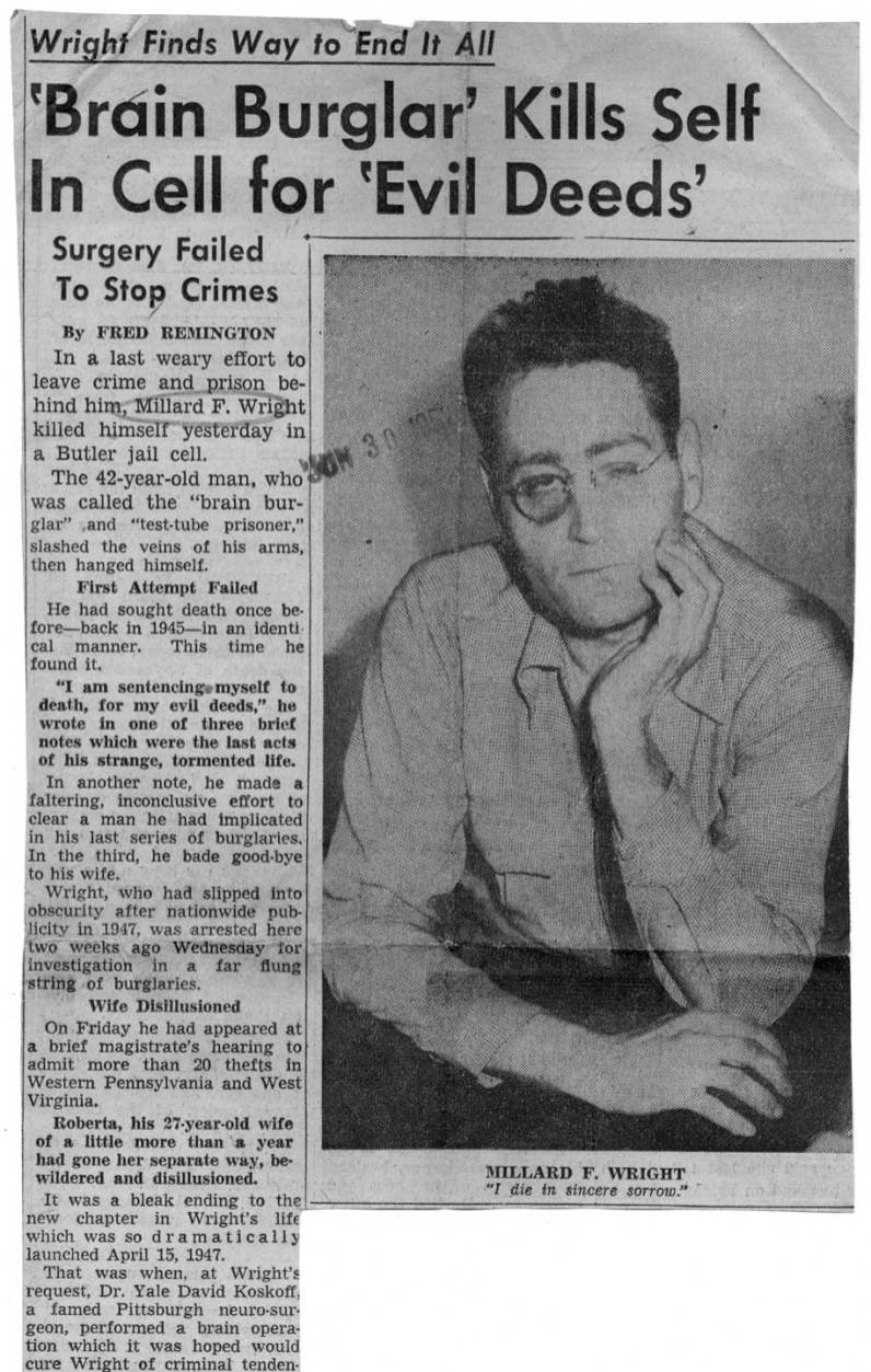 Newspaper coverage of the Millard Wright suicide.