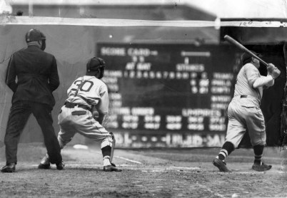 Ruth connects during one of his plate appearances at Forbes Field. The print was heavily airbrushed. (Photo credit: Unknown)