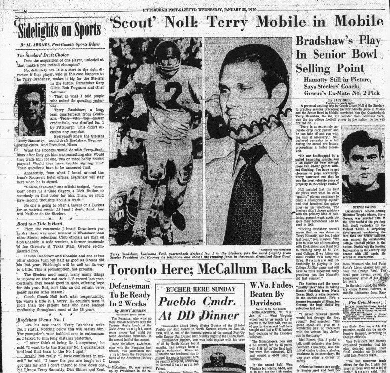 Newspaper clipping from Jan. 28, 1970, the day Bradshaw was drafted by Steelers (Post-Gazette)