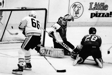 The winning goal by Rob Brown, Flyers goalie is Ron Hextall, #28 is Flyers Kjeill Samuelisson and Pens Mario Lemieux #66 (The Pittsburgh Press photo)