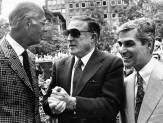 Gene Kelly with Pirates announcer Bob Prince, left, and Mayor Richard Caliguiri at Mellon Square in 1981. (Photo by Jim Klingensmith, Post-Gazette)