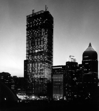 Though incomplete, the tower dominates the skyline. (Photo credit unknown, circa 1969)