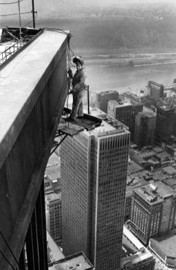 Welder Jim Marks of West Mifflin works on the top corner of the tower on June 14, 1970. (Edward Frank/Post-Gazette)