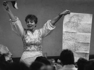 Albina Senko making a presentation in Clairton in 1991. As a 10-year-old immigrant, she received her first gift at the Kollar Club. (Steve Mellon/Post-Gazette)
