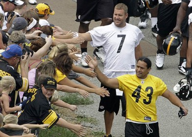 Ben Roethlisberger and Troy Polamalu greeting the fans in Latrobe.