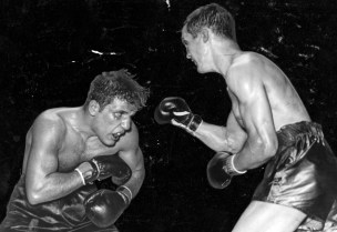 Jake LaMotta (left) and Zivic battle at Forbes Field. (Pittsburgh Press photo)