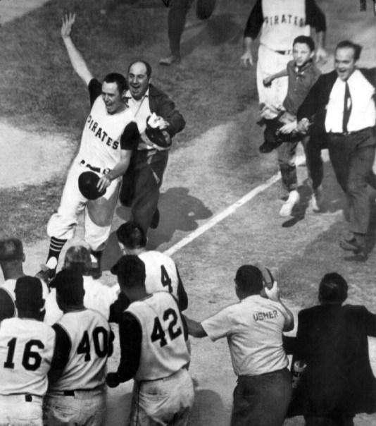 Bill Mazeroski coming into homeplate during the 1960 World Series (James G. Klingensmith/Post-Gazette)