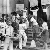 Madoff with volunteers preparing for cleaning sweep, 1975, James Klingenstein, Post-Gazette