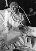 Madoff working in hospital bed because of dislocation, 1986, Darrell Sapp, Post-Gazette