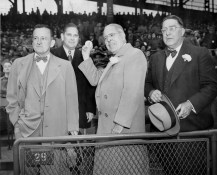 Branch Rickey, right, joined Lawrence and Pirate co-owners, from right to left, Tom Johnson and John Galbreath, for home opener at Forbes Field in 1951.