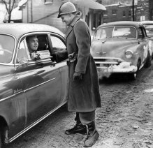 Drivers showed passes that allowed them on the roads. (Post-Gazette photo)