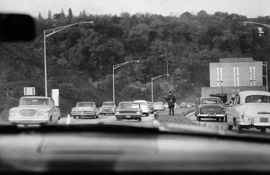 Officials experimented with allowing two-way traffic in one of the tunnels in the early 1960s. (Pittsburgh Press photo)