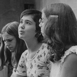 Sept. 4, 1973: Susan Zack and Barbara Purse wait outside North Catholic High School for their first day of school after the school went coeducational. (Andy Starnes/Post-Gazette)
