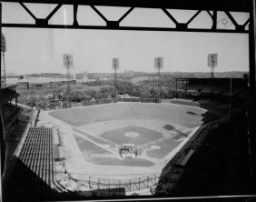An undated photo of Forbes Field and Oakland during batting practice. (Photo credit: unknown)