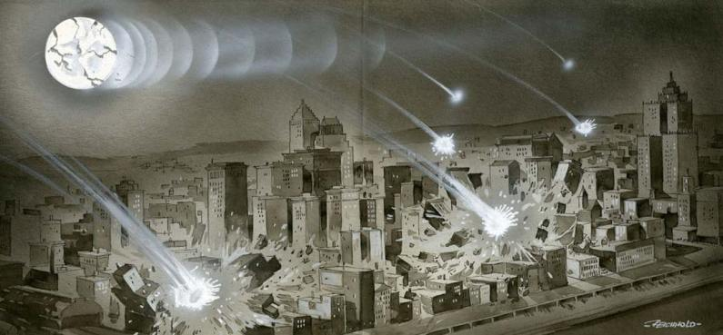 Bits of a broken moon bombard Pittsburgh.