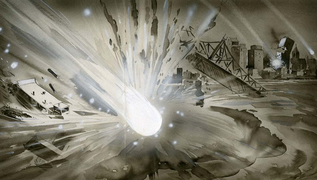 A comet attack levels the Wabash Bridge. (Illustration by Ralph Reichhold/The Pittsburgh Press)