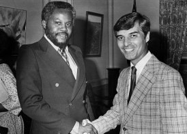 Milliones with Mayor Richard S. Caliguiri in 1978. (Albert French/Post-Gazette)